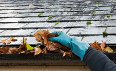 gutter cleaning removing leaves from gutter
